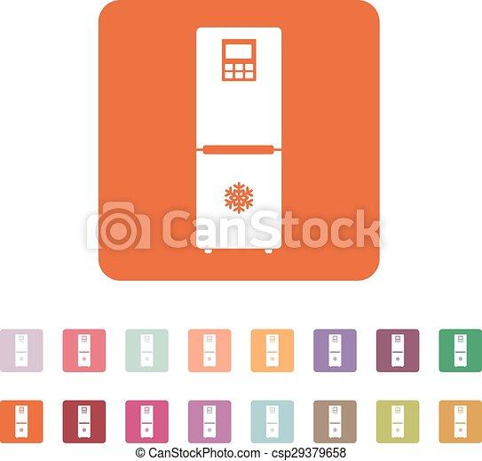 The Icebox Icon Fridge And Refrigerator Symbol Flat Vector