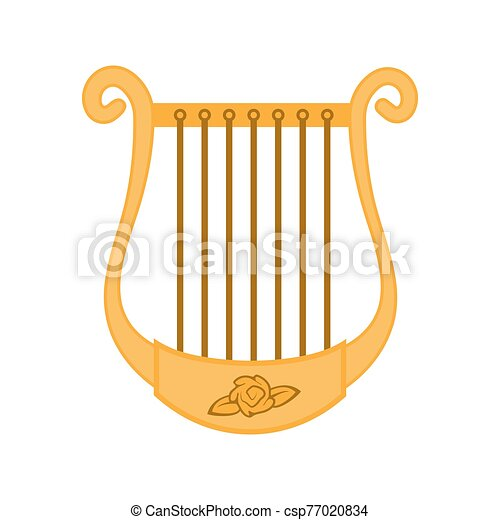 The icon is a musical instrument of the Harp isolated on white background. Vector image - csp77020834
