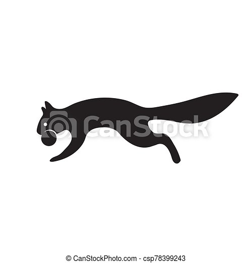 The icon of a squirrel with a nut on a white isolated background. Vector image - csp78399243