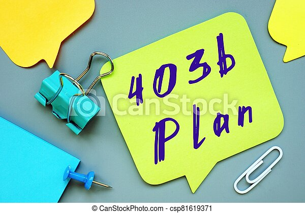 The image contains the inscription 403b Plan on a notepad sheet. - csp81619371