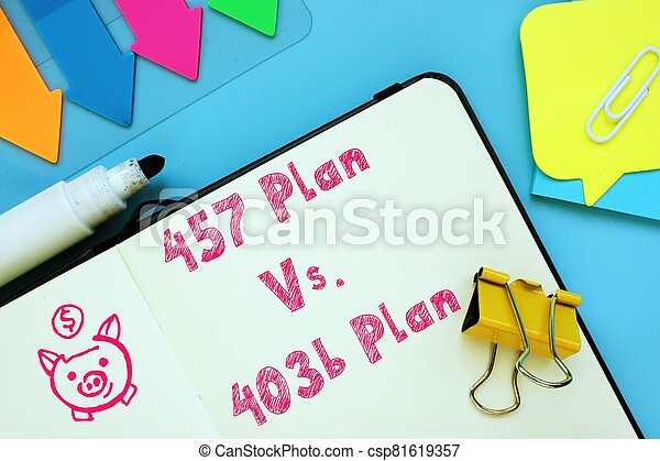 The image contains the inscription 457 Plan Vs. 403b Plan on a notepad sheet. - csp81619357