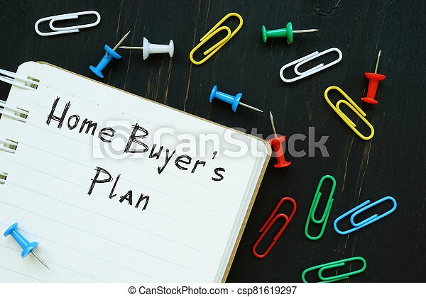 The image contains the inscription Home Buyer's Plan on a notepad sheet. - csp81619297