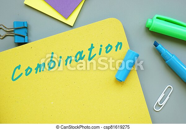 The image contains the inscription Combination on a notebook sheet - csp81619275