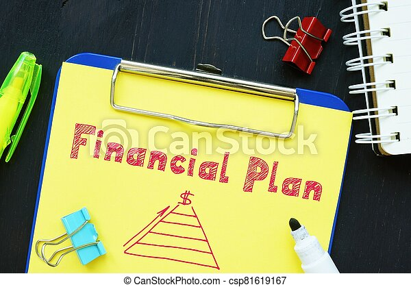 The image contains the inscription Financial Plan on a notepad sheet. - csp81619167