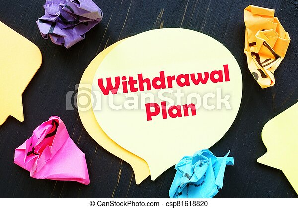 The image contains the inscription Withdrawal Plan on a notebook sheet - csp81618820