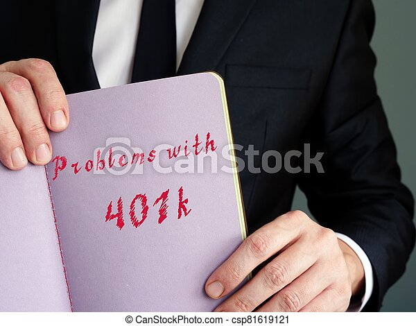The image contains the inscription Problems with 401k on a notebook sheet - csp81619121