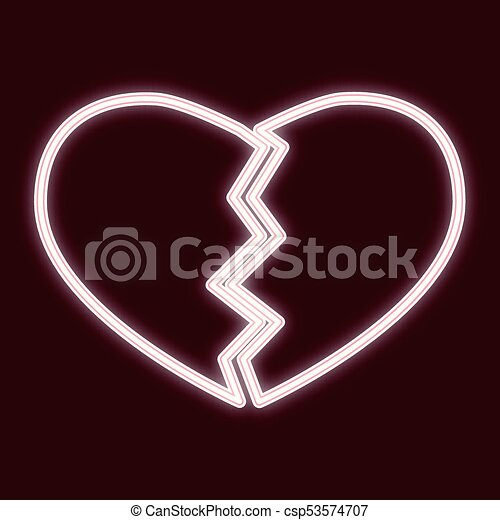 The Image Of A Broken Heart Icon With The Effect Of Neon Glow The