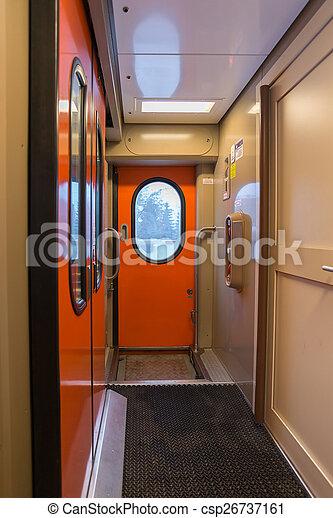The image of corridor in compartment car - csp26737161