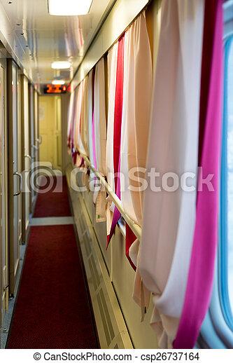 The image of corridor in compartment car - csp26737164