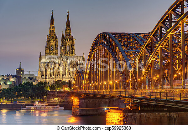 The imposing cathedral of Cologne at dusk - csp59925360