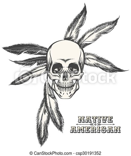 The Indian Skulleps Indian Warrior Skull Drawn In Engraving Style