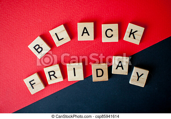 The inscription black friday from wooden blocks - csp85941614