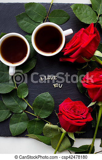 The Inscription I Love You On A Black Background Coffee Red Roses