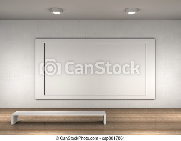 The interior of a empty museum. Museum room with frame for text or ...