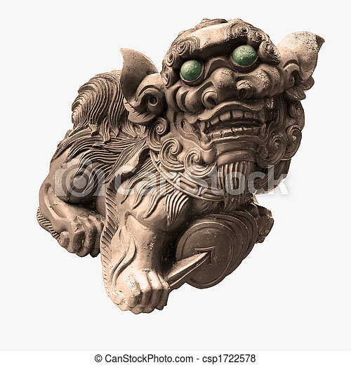 The isolated chinese temple stone carving - lion. - csp1722578