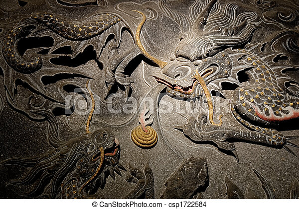 The isolated chinese temple stone carving - dragon. - csp1722584