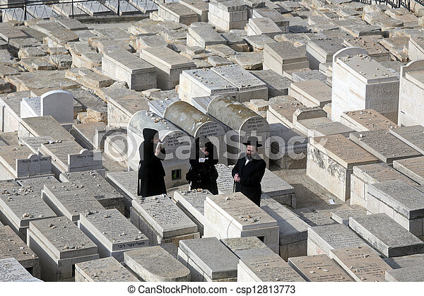 The Jewish cemetery on the Mount of Olives, in Jerusalem - csp12813773