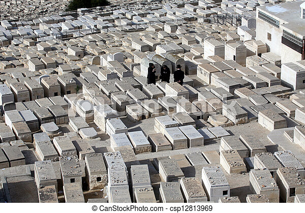 The Jewish cemetery on the Mount of Olives, in Jerusalem - csp12813969