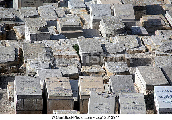 The Jewish cemetery on the Mount of Olives, in Jerusalem - csp12813941