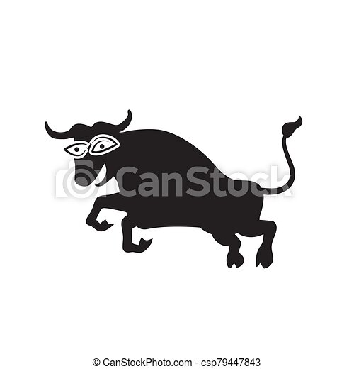 The Jolly bull logo on a white isolated background. Vector image - csp79447843