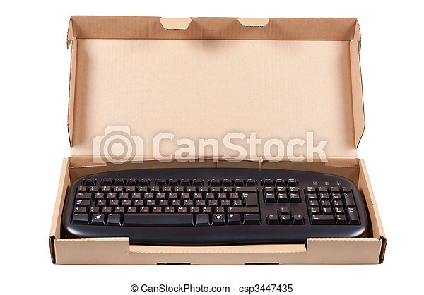 The keyboard in a box isolated on a white background. - csp3447435