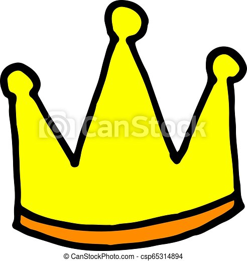 The King Crown Doodle Style Vector Hand Drawn Cartoon Illustration