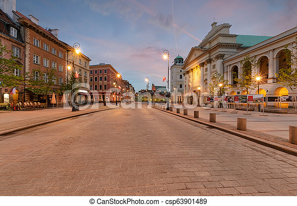 The kingsroad at sunrise in Warsaw, Poland - csp63901489