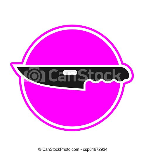The knife icon is a black silhouette in a pink circle on a white isolated background. Vector image - csp84672934