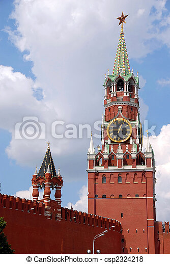 The Kremlin Spasskaya tower on Red Square in Moscow - csp2324218