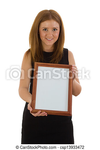 The lady is holding a wooden frame - csp13933472
