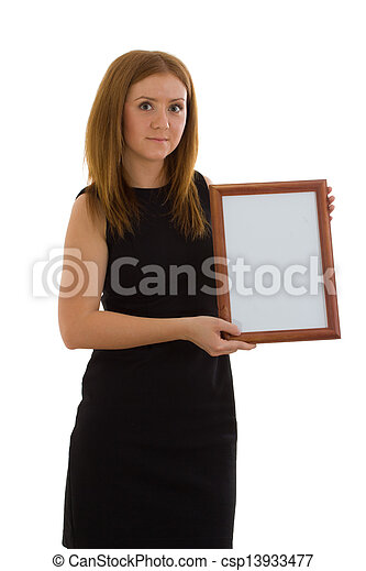 The lady is holding a wooden frame - csp13933477