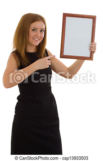 The lady is holding a wooden frame - csp13933503