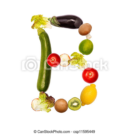 The letter b in various fruits and vegetables - csp11595449