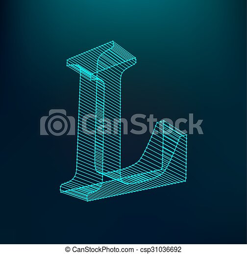 The letter L. Polygonal letter. Low poly model. The three-dimensional mesh. Volume mesh character. - csp31036692