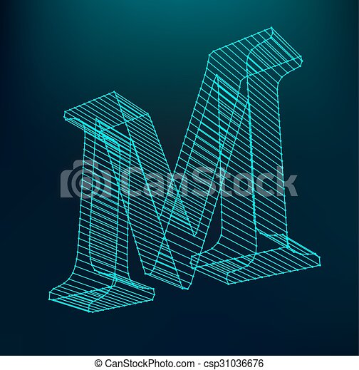 The letter M. Polygonal letter. Low poly model. The three-dimensional mesh. Volume mesh character. - csp31036676