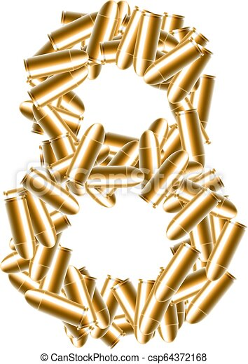 The letter number eight or 8 gold color, in the alphabet bullet set, illustration 3D virtual design isolated on white background - csp64372168