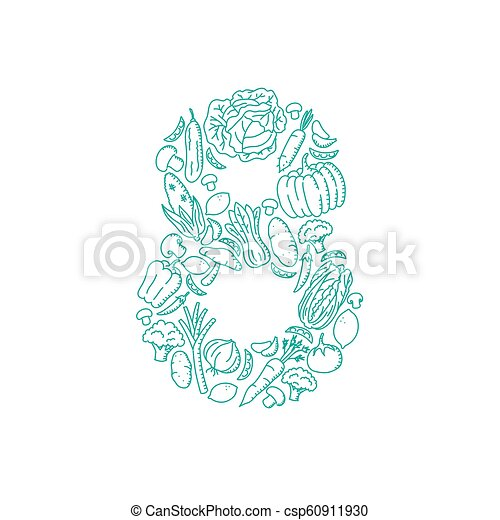 The letter number eight or 8, in alphabet Vegetable pattern set illustration kids hand drawing concept design green color, isolated on white background, vector eps 10 - csp60911930