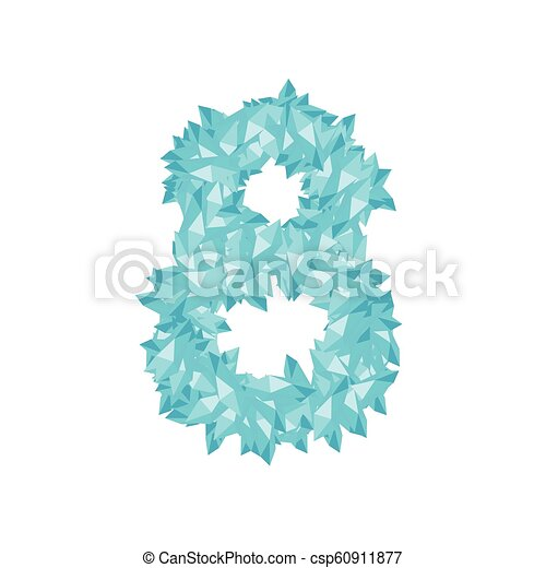 The letter number eight or 8, in the alphabet Crystal diamond 3D virtual set illustration Gemstone concept design blue color, isolated on white background, vector eps 10 - csp60911877