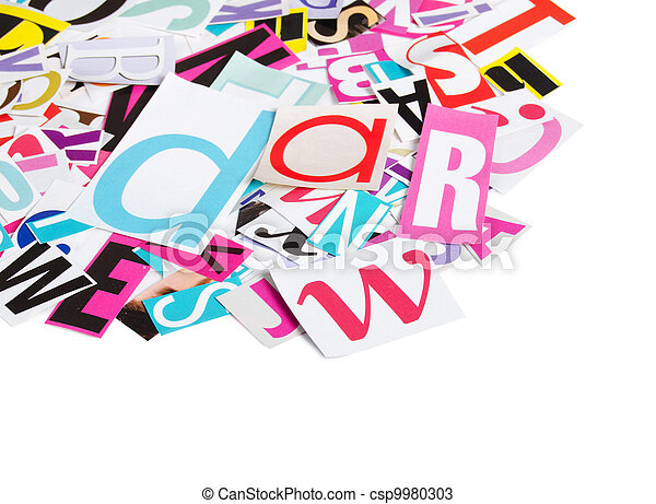 The letters which have been cut out from newspapers stock photos the letters which have been cut out from newspapers csp9980303 spiritdancerdesigns Gallery