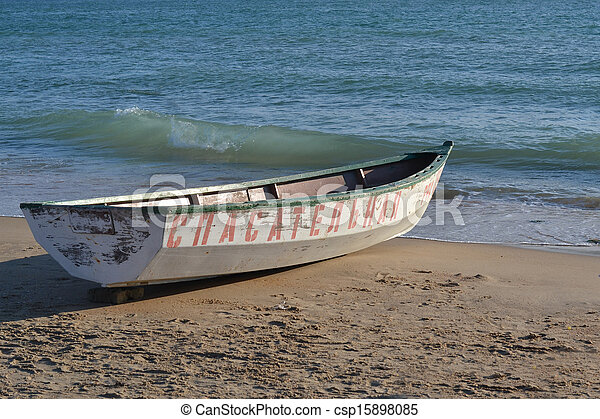 The lifeboat on the bank of the Black Sea. - csp15898085