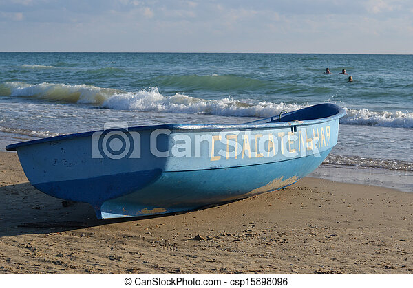 The lifeboat on the bank of the Black Sea. - csp15898096