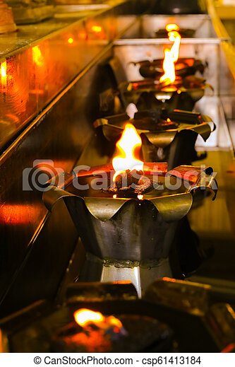 The light from the oil lamp. - csp61413184