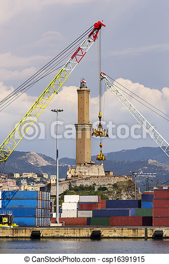 The lighthouse of Genoa - csp16391915