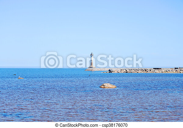 The lighthouse on the shore of Lake Ladoga. - csp38176070
