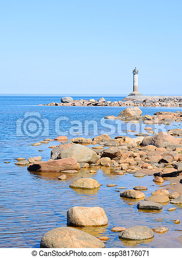 The lighthouse on the shore of Lake Ladoga. - csp38176071