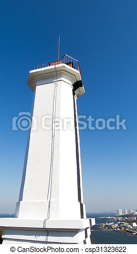 The lighthouse on the shore - csp31323622