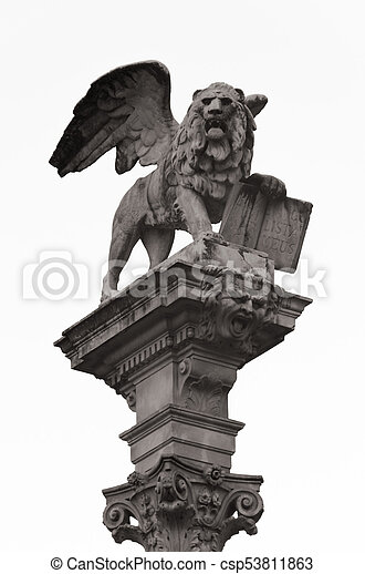 Sculpture Of The Lion Of Saint Mark Symbol Of Venice Italy