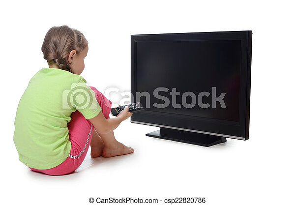 The little girl looks lsd tv - csp22820786