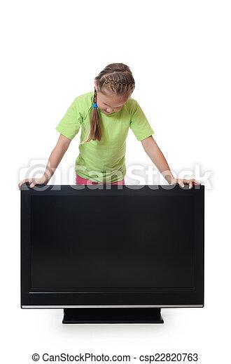 The little girl looks lsd tv - csp22820763