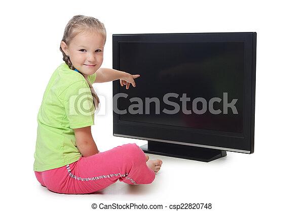The little girl looks lsd tv - csp22820748